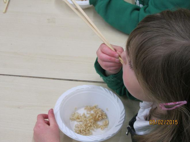 We had a go at using chopsticks.