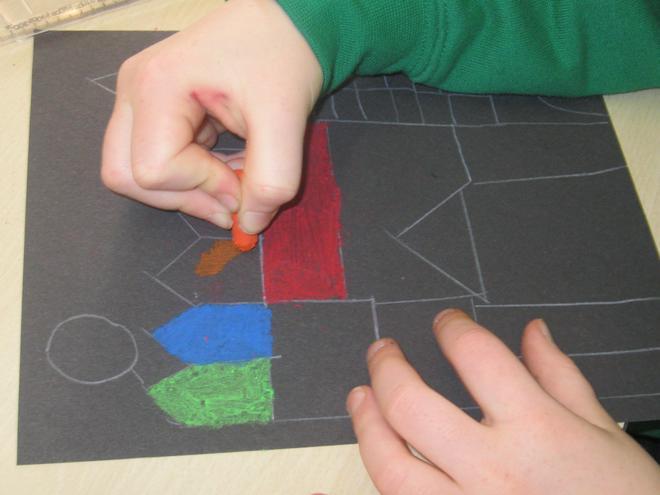 We carefully added blocks of colour.