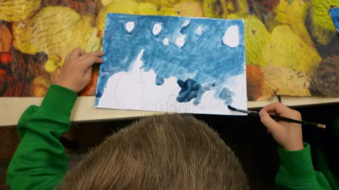 The children worked really hard to recreate the swirls that Gogh used in his painting.