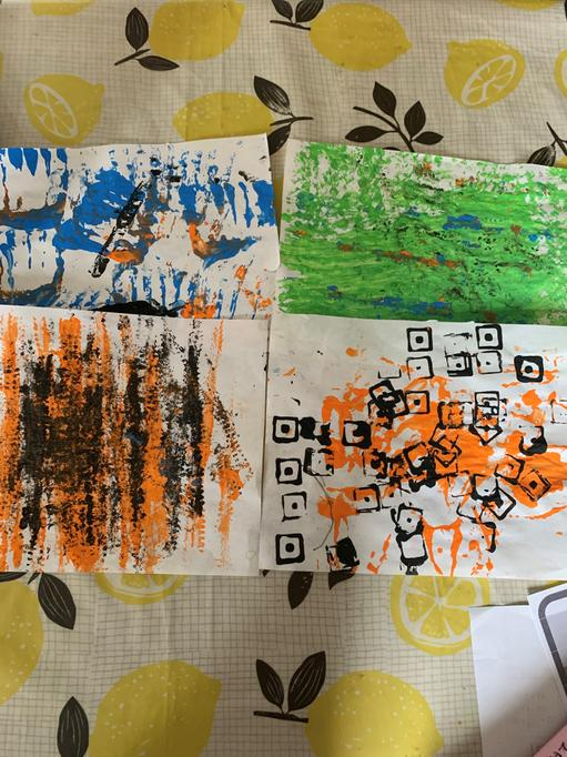 Ethan's printing theme 'tigers in the jungle'