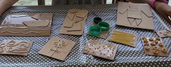 Look at Ella's different printing blocks!