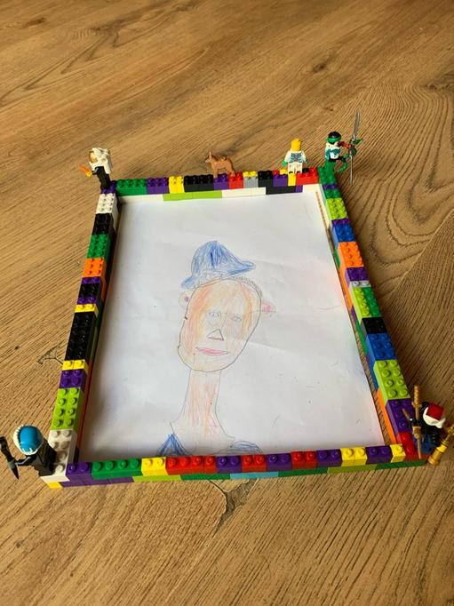 Kieran's portrait and Lego frame