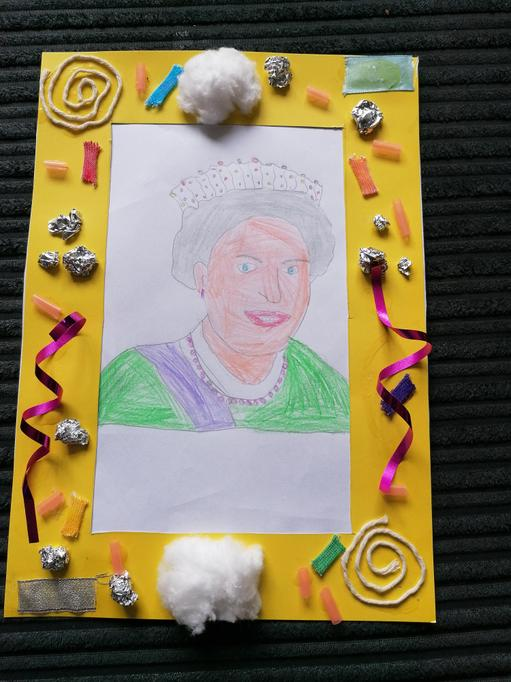 Brooke's framed portrait of Queen Elizabeth II