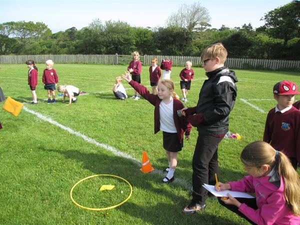 Year 6 leading ks1 sports day activites