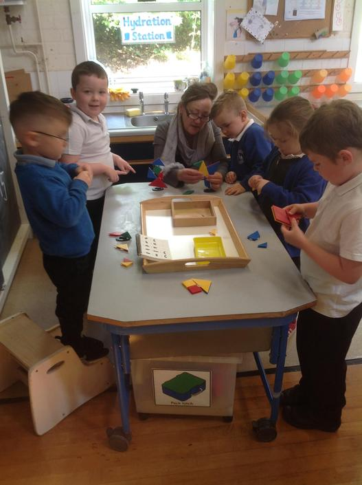 Ms Rowlands brought her own 3D tangrams. We have fun creating fantastic 3D models.