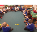 Class introduction of exploring all of the different shapes that can be made with 4 cubes.