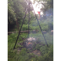 Cakes cooking on our new fire tripod. A very kind gift from the Froment family. Thank you