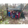 Under a shelter Ms Rowlands erected!