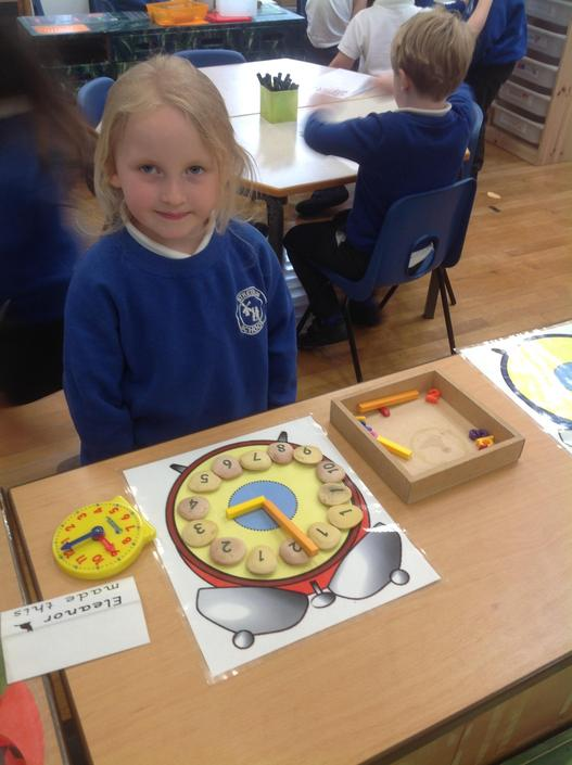 More clocks. We have been learning O'clock and half past times.