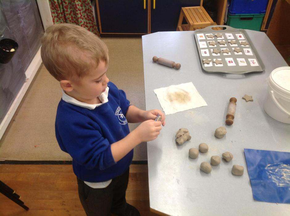 We made clay stars for our special Christmas trees.