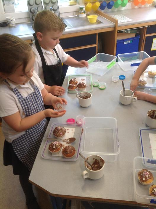 Decorating our  cakes.