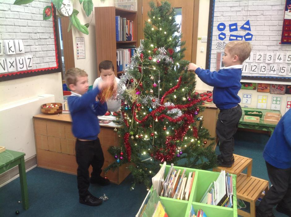 A tree appeared in our classroom which needed decorating!
