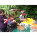 Filling our orange to make chocolate orange cake.