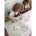 We placed our decoration onto a picture of a butterfly before decorating the biscuit.