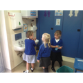 Getting ready for lunch washing our hands.