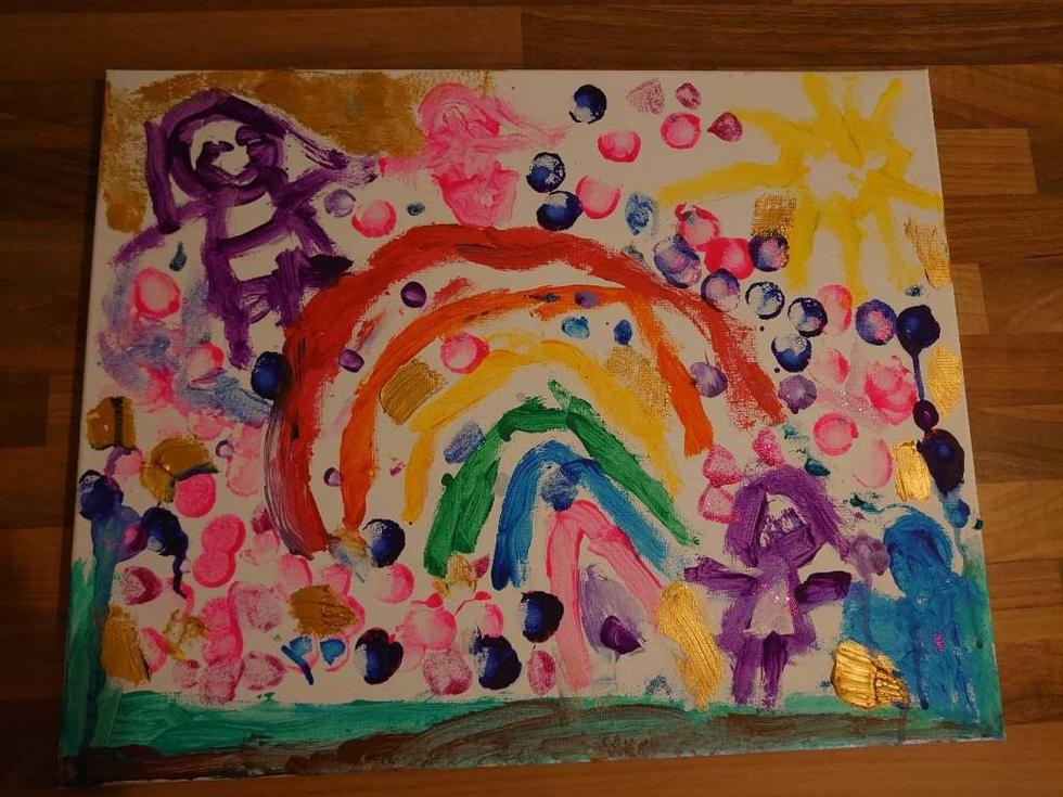 Bella's colourful Rainbow art