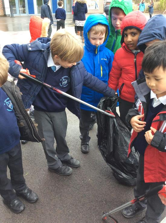 Litter picking at breaktime (pre-COVID)