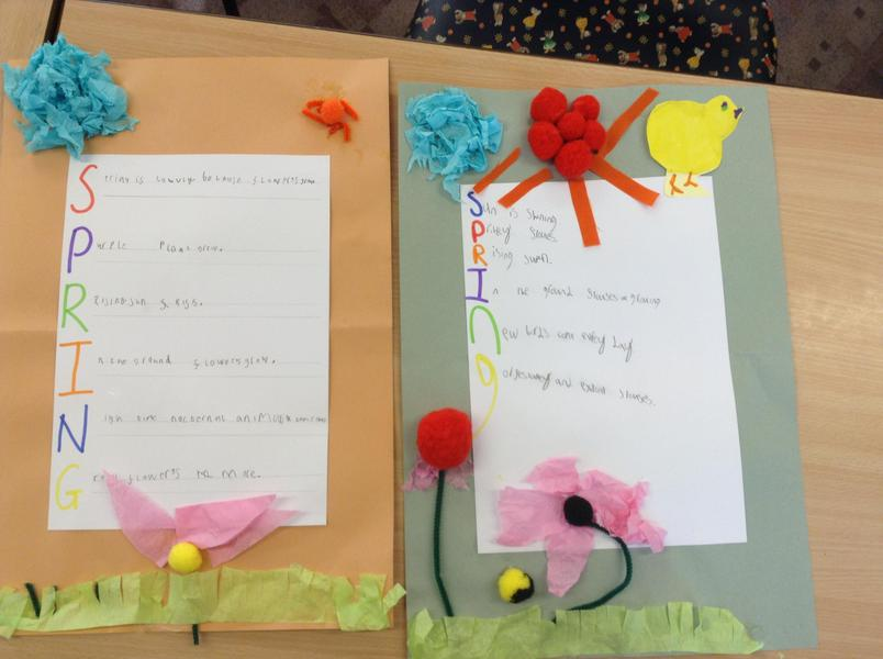 KS1 wrote and decorated spring poems