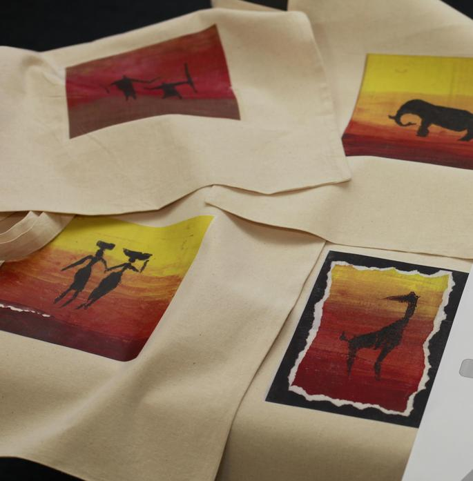 African Textiles: Shopping bags with transfersYr 4