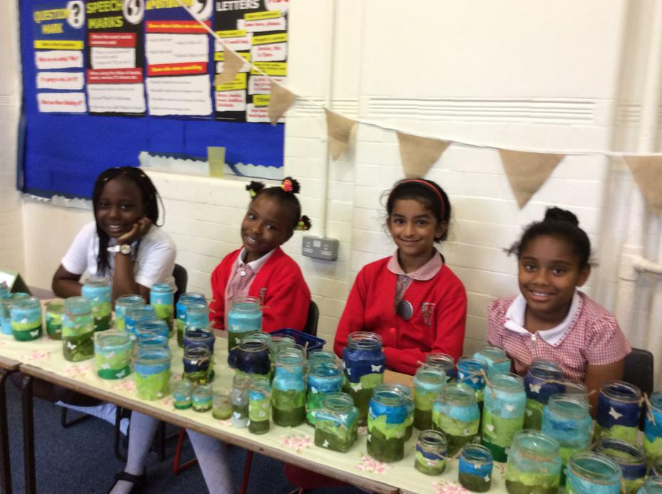 Market stall selling Year 3 products.