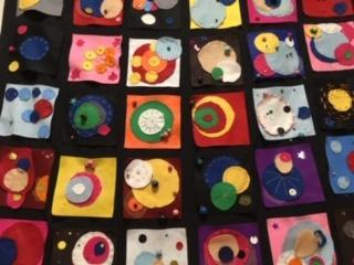 Textile Wall Hanging: Kandinsky inspired Planets