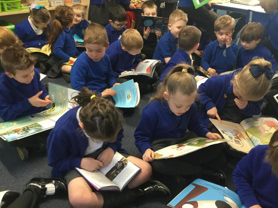 Class 1 taking part in 'Drop Everything and Read'