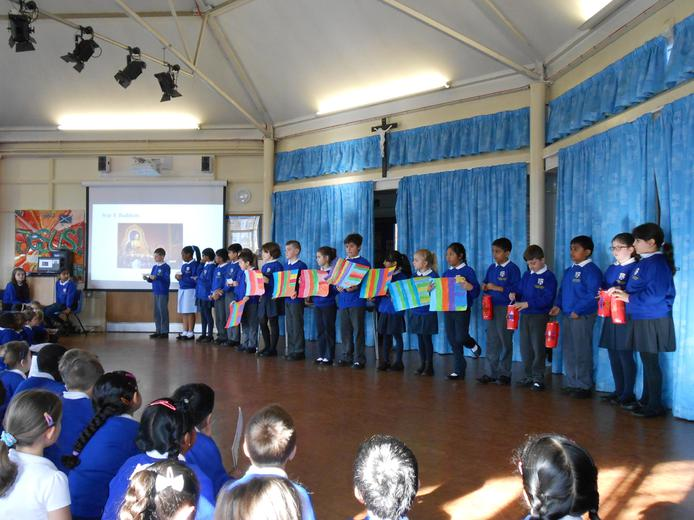 Year 4 sharing their learning in assembly