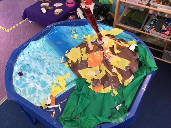 Wow, look at this volcano science some of the children created for our small world play.