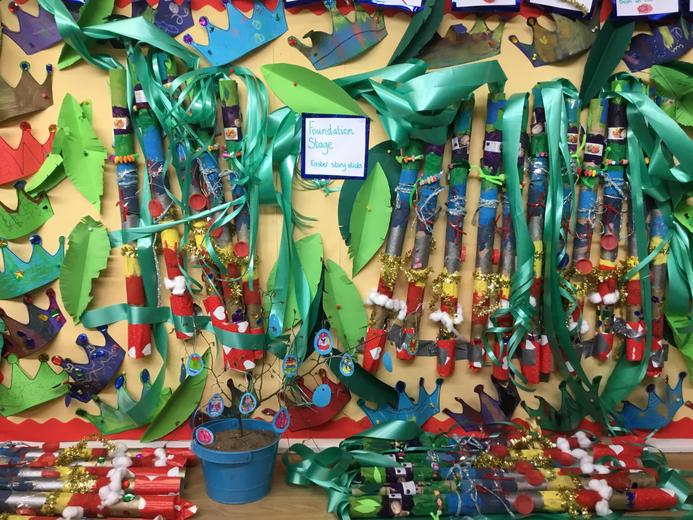 We made giant story sticks that re tell the whole Easter story.