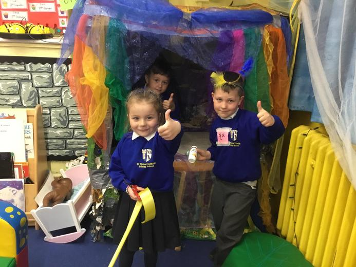 These children helped spruce our reading area up!