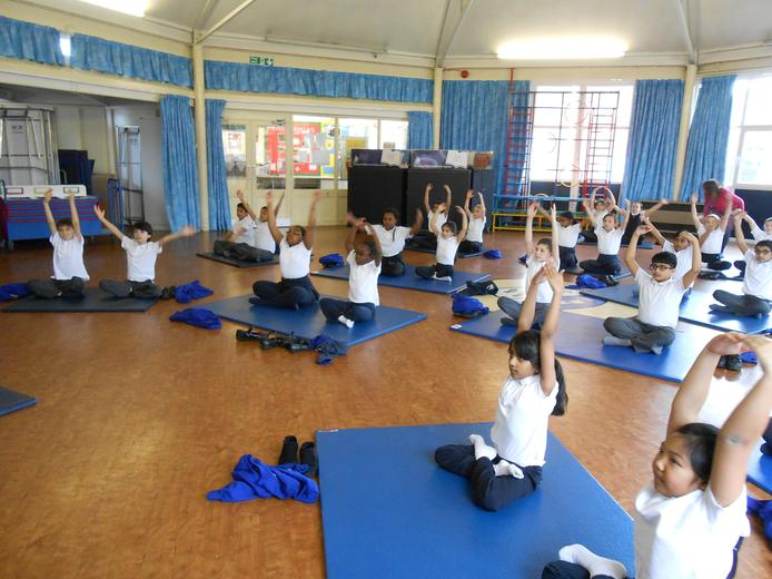 Year 4 doing some yoga