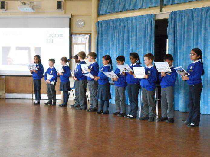 Year 2 sharing their learning in assembly