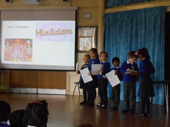 Year 1 sharing their learning in assembly