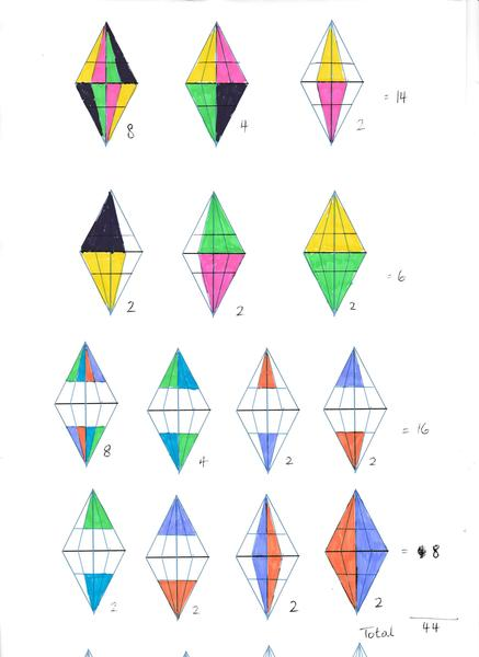 3) 44 triangles
