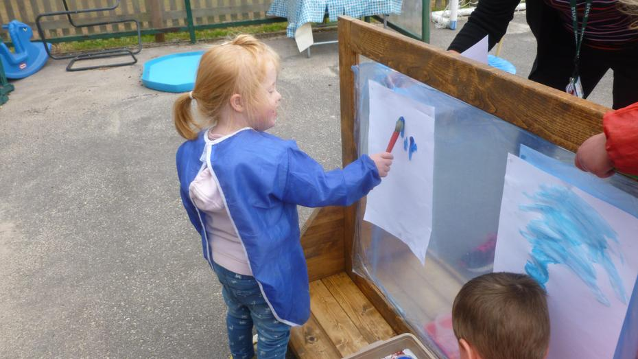 Our huge outside painting easel