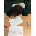 Isla doing her maths