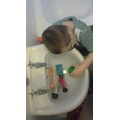 Liam's floating and sinking experiment.