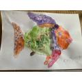 Kobi's fantastic rainbow fish art