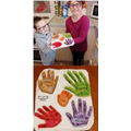 Liam made salt dough handprints of his family.