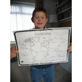 Dylan has labelled his world map