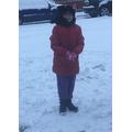 Georgina looks snuggly warm in her snow gear.