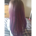 Octavia used tissue paper to dye her hair purple !