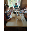 Marcus making slime with his family