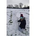 Miss Evans with her effort of a snowman