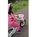 Isla has learnt to ride her bike