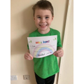 Kobi showing off his home learning certificate- keep up the good work Kobi