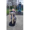 Alivia-Rose busy at the park 'gym'