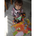 Emilia is using her own Elmer to tell the story.