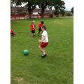 Class Red doing PE outside.