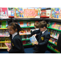Looking at the books from the book fair!